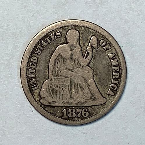 1876-CC Seated Liberty Dime. VG10  [SD 2]