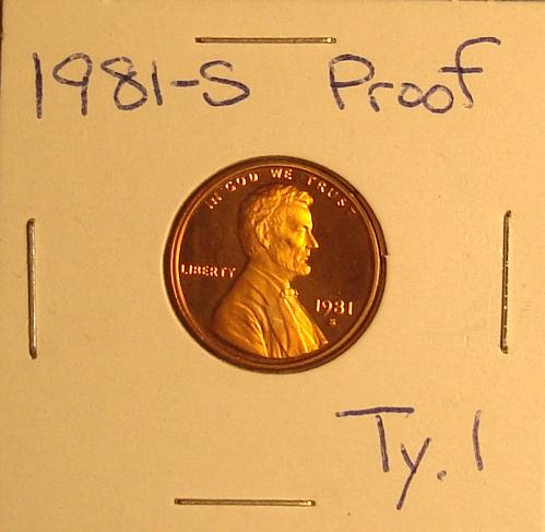 1981 S Lincoln Memorial Cent Small Cent Type 1 - Filled S Proof