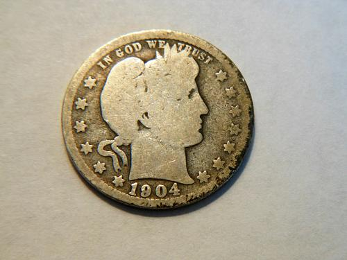 1904-O Silver Barber Quarter.