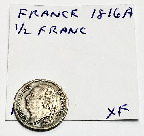 1816 A 1/2 Franc - France