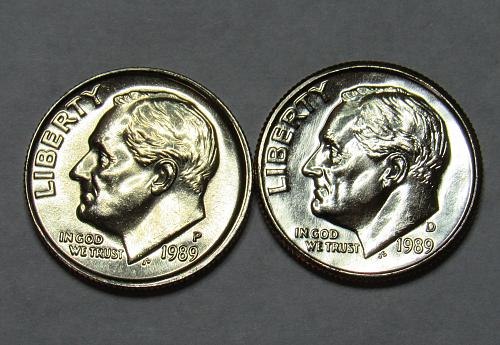 1989 P&D Roosevelt Dimes in BU condition
