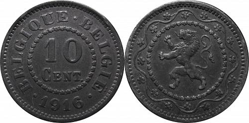 Belgium 1916 10 Centimes (Dot before and after)      0296