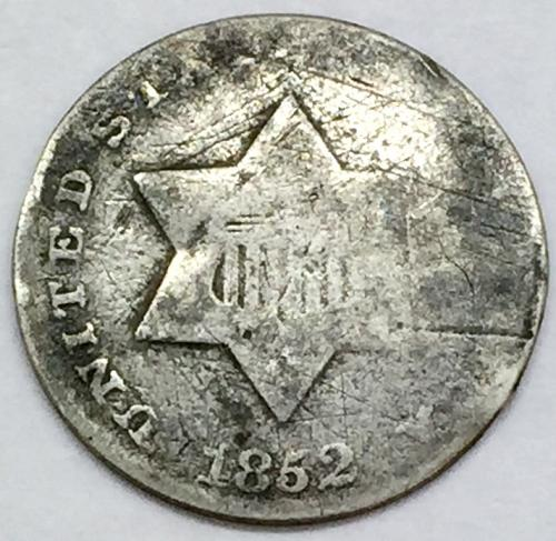 1852 Silver 3 Cent Piece - Type 1