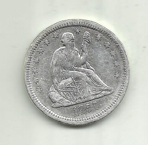 1857  SEATED LIBERTY QUARTER