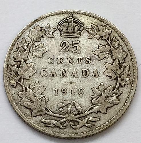 1910  25 Cents - Canada