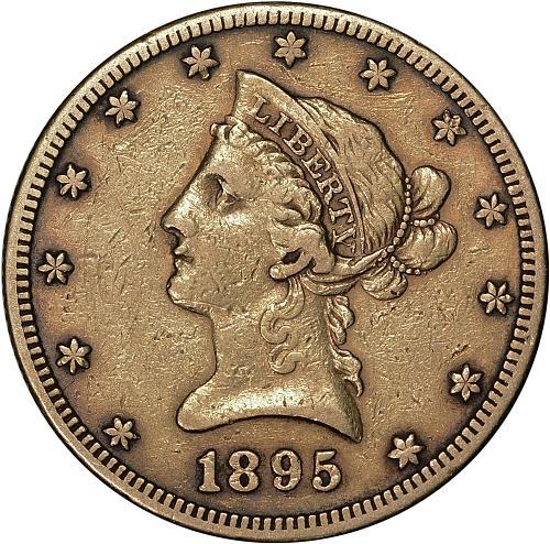 $10.00 1895-S Gold $10 Ten Dollar Eagle - VF / XF
