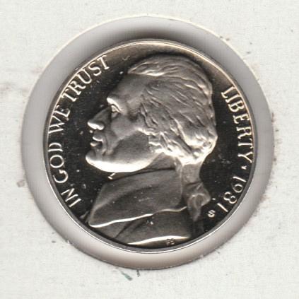 1981 S Jefferson Nickels: Type 2 - Clear S - #3