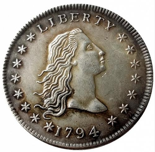 1794 Flowing Hair One Dollar with Letters on Edge 'COPY' Stamped on Reverse