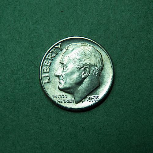 1955 D Roosevelt Dime Brilliant Uncirculated Coin   t55