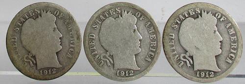 1912-P BARBER DIMES