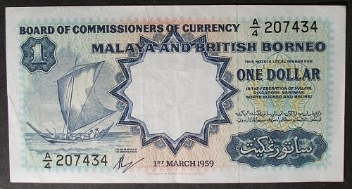 Malaya and British Borneo P1a Dollar VF++