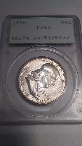 1958 Franklin 50c PCGS MS64