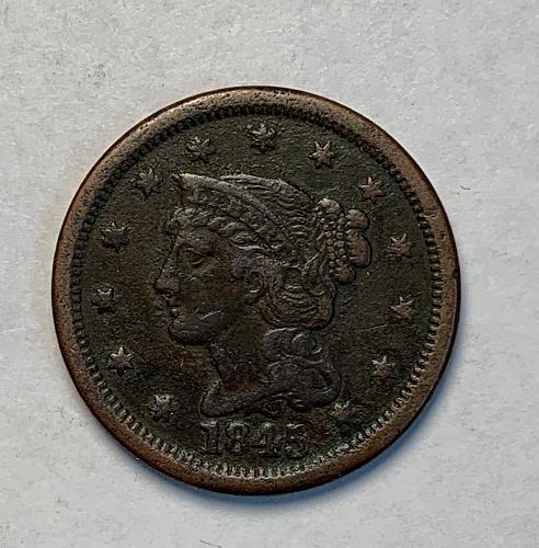 1845 Braided Hair Large Cent VF [LGC 52]