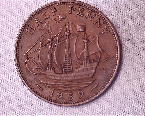1959 Dei Gratia Regina F.D Elizabeth 11 Half Penny
