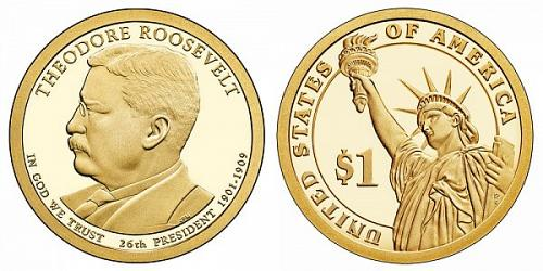 2013   S   PROOF  THEODORE ROOSEVELT  PRESIDENTIAL DOLLAR