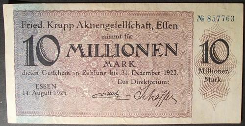 Germany/Essen 10 Million Marks VF