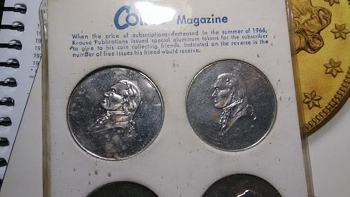 1966 Coins Magazine complete set of Tokens