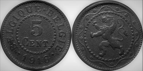 Belgium 1916 5 Centimes Zinc