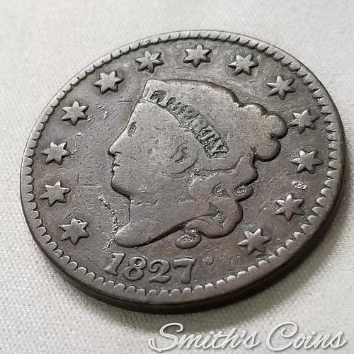 1827 Coronet Liberty Head Large Cent ~ VG