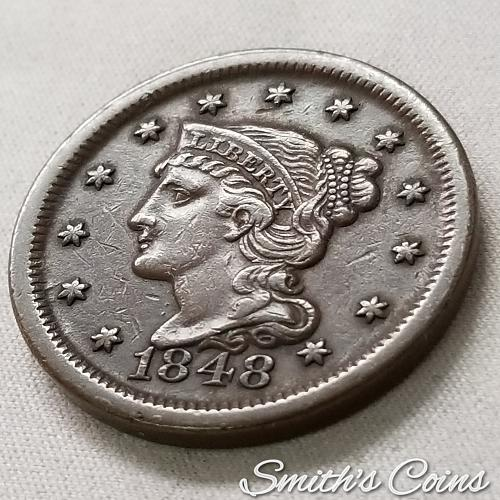 1848 Braided Hair Liberty Head Large Cent ~ N-3 ~ XF