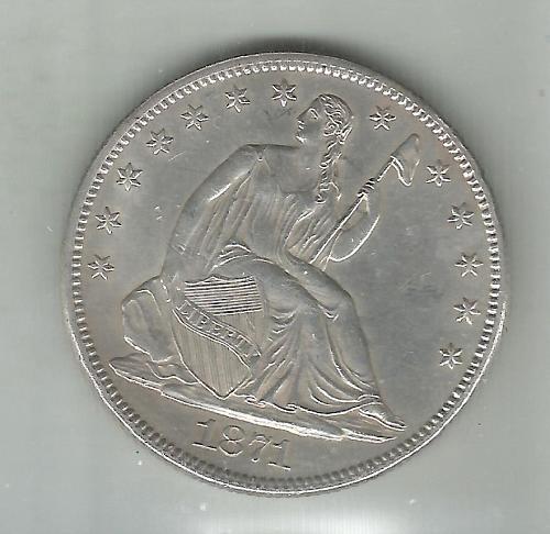 1871    SEATED LIBERTY HALF DOLLAR