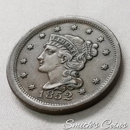 1852 Braided Hair Liberty Head Large Cent ~ AU