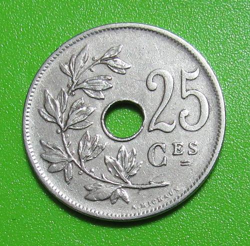 1927 Belgium 25 Centimes
