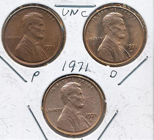 Lincoln Memorial Cents; 1971, 72, 73, 74 PDS, Uncirculated
