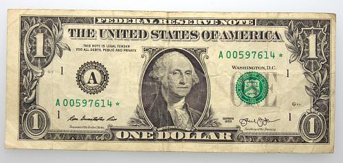 2013 $1 Federal Reserve Star Note#4 Circulated
