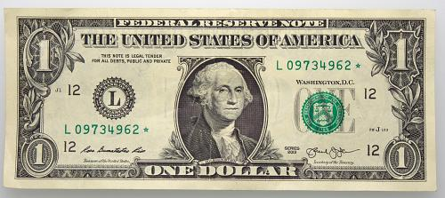 2013 $1 Federal Reserve Star Note#6 Circulated