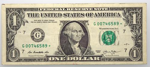 2013 $1 Federal Reserve Star Note#14 Circulated