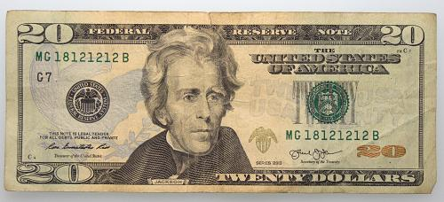 2013  $20 Federal Reserve Note#19 Repeating Number MG 18121212B