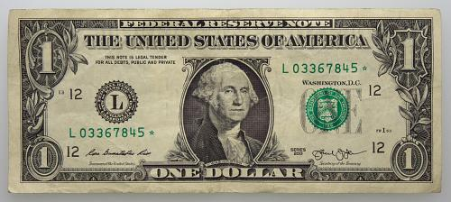 2013 $1 Federal Reserve Star Note#20 Circulated
