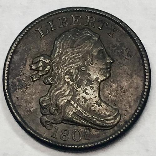 1808 Draped Bust Half Cent - Coin is Bent