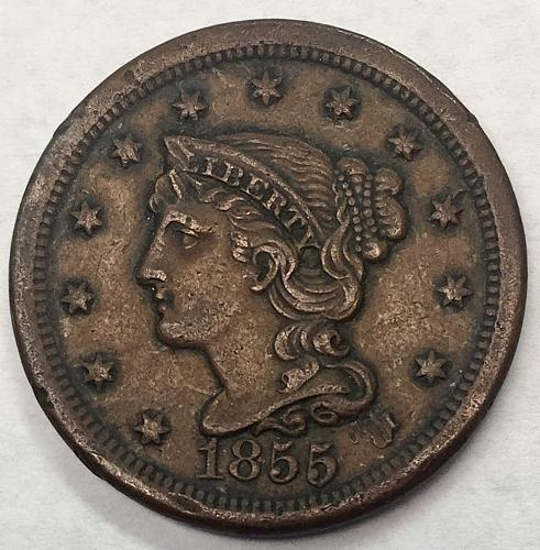1855 Braided Hair Liberty Head Large Cent - Upright 5's - Error