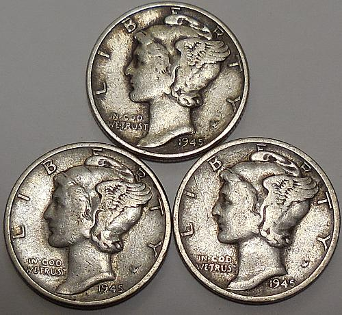 Mercury Dimes 1945-P 1945-D & 1945-S