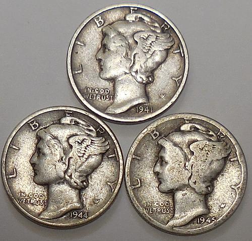 Mercury Dimes 1941-P 1944-P & 1945-D