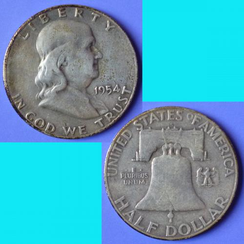 US USA United States of America Franklin Half Dollar 1954 S km 199 silver