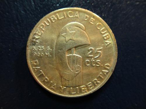 CUBA 25 Centavos 1953 MS-63 (Choice BU) K#27 Featuring Jose Marti!