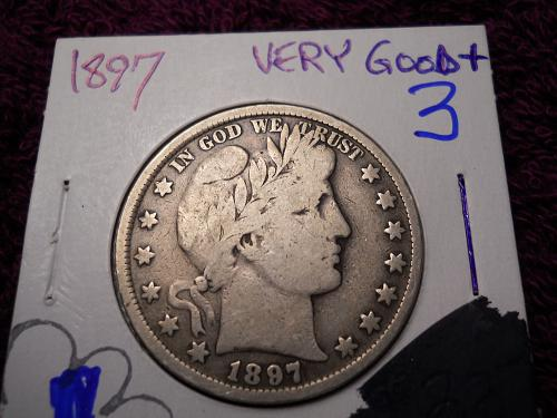 1897 (P) Barber Half Dollar.   Very Good-10 Grade.  Original Uncleaned Surfaces