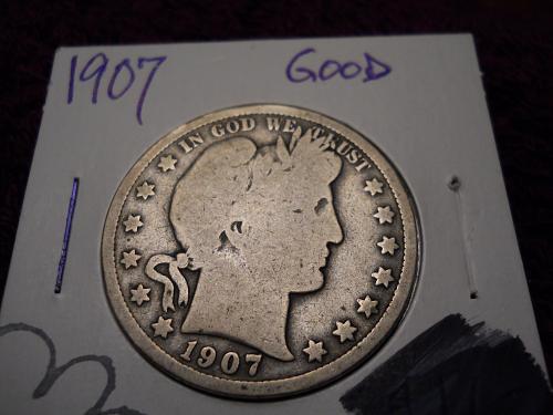 1907 (P) Barber Half Dollar.  Good Grade.  Original Uncleaned Surfaces.