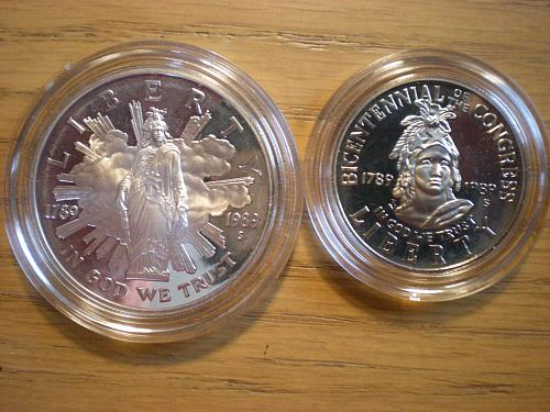 1989 Proclaiming the Triumph of Democracy Two Coin Proof set