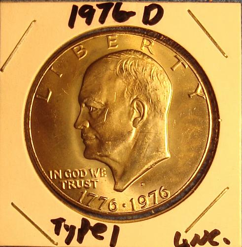 1976 D Eisenhower Dollars: Type 1 - Low Relief - Bold Lettering