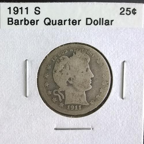 1911 S Barber Quarter Dollar - 6 Photos!