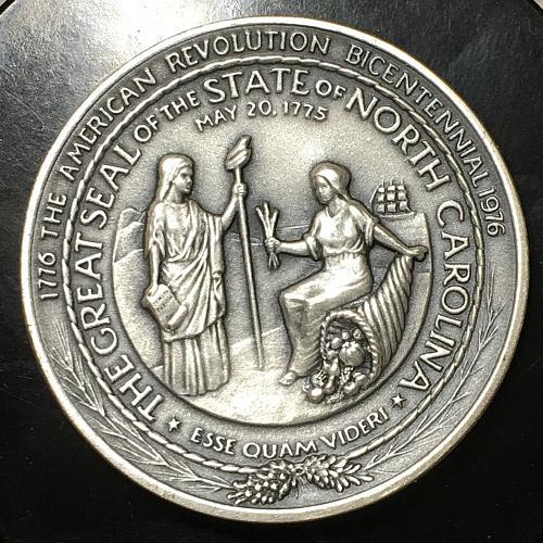 1776-1976 State of North Carolina American Revolution Silver Bicentennial Medal