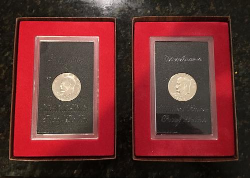 Two 1971-S Proof Eisenhower 40% Silver Dollars