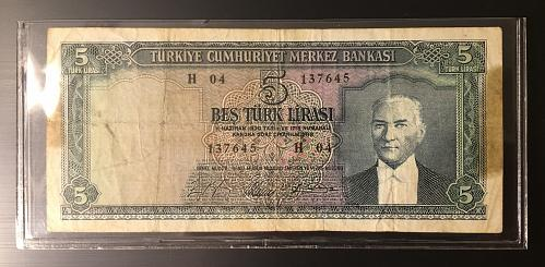 1961 Turkey 5 Lira Banknote