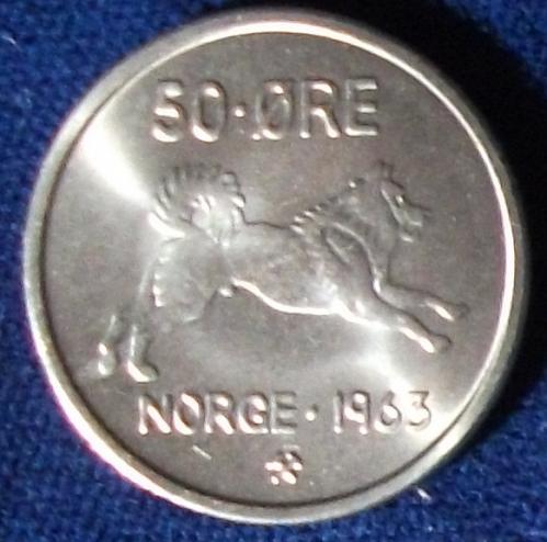 1963 Norway 50 Ore UNC