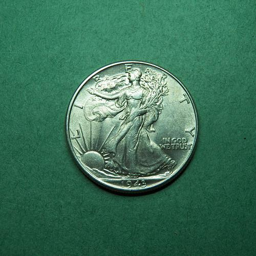 1943 P Walking Liberty Half Dollar AU Coin   t63