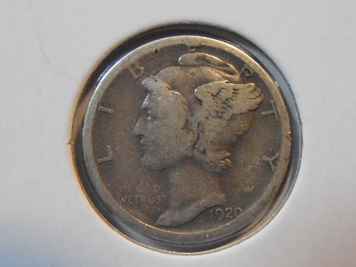 1920 S Mercury Silver Dime,  Better grade (20SM3)